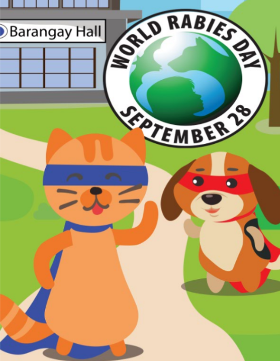 The vaccinated characters in the storybook are superheroes fighting on World Rabies Day against rabies.