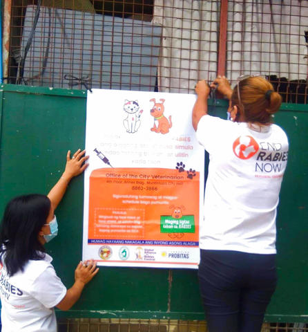 CBRS health workers hang GARC rabies education and awareness posters in the Philippines