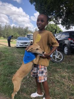 Boy and dog ICAM vaccination drive 2019